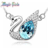 Free Shipping Fashion White Gold Plated Swan Lake Austria Crystal Necklacee  Wholesale Magic Girls shop 4n110 necklaces pendants