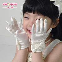 Female child formal dress flower girl accessories short st08 five fingers gloves