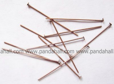 Iron Headpins, Nickel Free, Red Copper Color, Size: about 4.0cm long, 0.7mm thick, Head: 2mm, about 3200pcs/500g(China (Mainland))