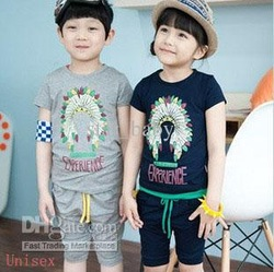 Baby Boys Girls Clothing Set Unisex Pure Cotton Short Sleeved Cartoon Pattern Tops + Middle Length Pants 2pcs Kids Outfits 6954(China (Mainland))