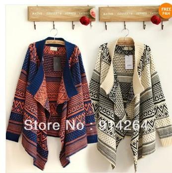 Women Irregular Oversized Loose Geometric Knit Cardigan Jumper Sweater Outwear    free shipping