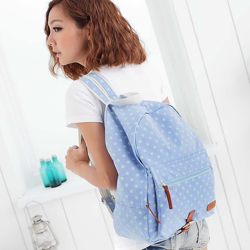 Free shipping drop ship 2001 good quality casual sweet polka dot backpack 4 wholesale price retail(China (Mainland))