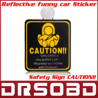5pcs/lot Safety Sign&amp;quot;CAUTION!!&amp;quot;Children in Car Suction cup Reflective funny car Sticker high quality material Free Shipping