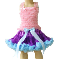 Factory directly,reasonable price,child clothing,girl's pettiskirt,pink top+ purple skirt with blue ruffle ,5sets/lot