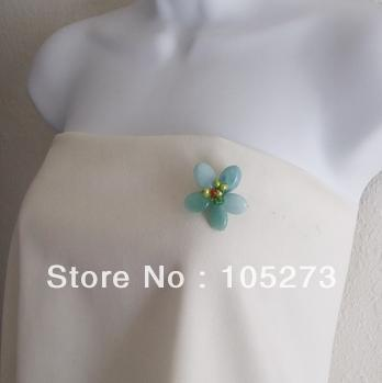 Wholesale Gem Stone Flower Jewelry Adorable Blue Green Amazonite Floral Serenity Pink Brooch Top Quality New Free Shipping(China (Mainland))