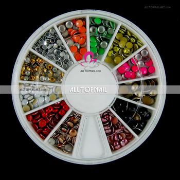 2-4mm Round 12 color Nail Art Metal Studs Rhinestones Decoration DIY Tips 2 Wheels/lot