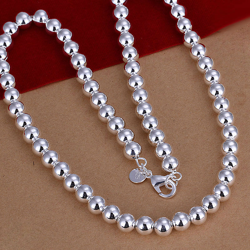 Hollow Prayer beads 925 silver necklace,925 Sterling Silver jewelry,wholesale fashion jewelry,,Free Shipping N111(China (Mainland))