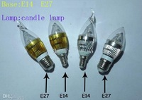 promotion! promotion! 20pcs/lot  E14 E27 3W LED Candle Lamp candle light Candle LED Bulbs 85V-265V