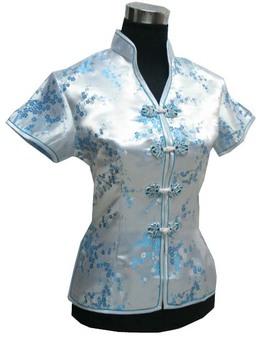"Light blue New Chinese Women's Satin Polyester V-neck Shirt top Blouses clubs Flower S M L XL XXL "" SJshirt-16 """