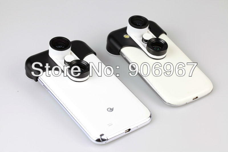 For Samsung Galaxy Note II N7100 4 in 1 Photo Lens Kit (180 Degree Fisheye,Macro, Super Wide angle Lens + Front Fish eye Lens)(China (Mainland))