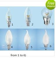 promotion! new 3*2W 6W E27 E26 E14 High Power LED Energy-Saving Candle Light Bulb Lamp 85~265V