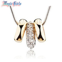 Free Shipping Fashion  Rose Gold Plated  Austria Crystal Necklace  Magic Girls shop 4n107 necklaces pendants