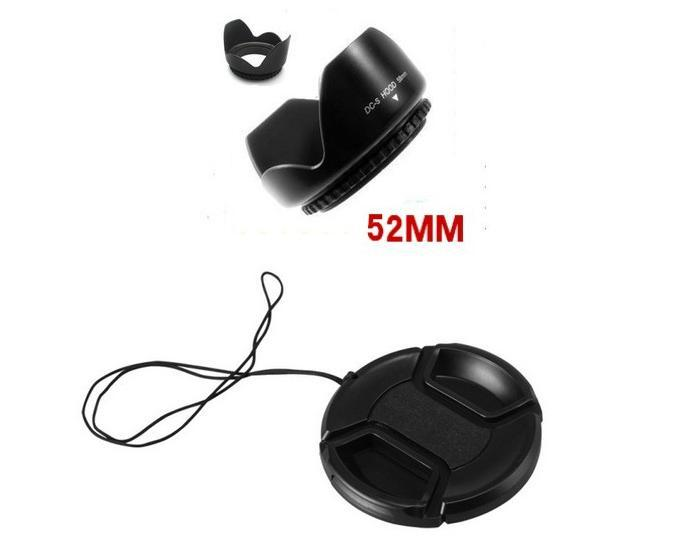 NEW 52 52mm Petal Lens Hood + Lens Cap for dslr Camera Nikon D5100 D3200 D5000 d3100 18-55 GF1 14-45 GF2 14-42 Canon 50F1.8(China (Mainland))
