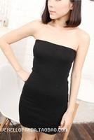 One piece all-match high-elastic long tube top dress tube top dress basic slim hip dress