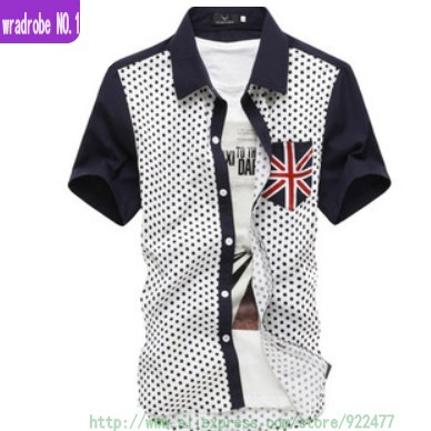 2013 new men shirt short sleeve,cotton cloth,fashion britain flag dots,brand slim fit casual shirts,plus size(M-XXL)freeshipping(China (Mainland))