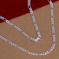 Hot 925 Sterling Silver 4mm Flat Chain Necklace Mens Necklace. Freeshipping N102