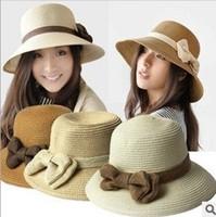 HOT Style freeshipping adult women girls fashion  linen bow sun hat summer beach hat Accessories
