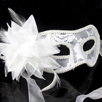 White Fashion HandMade Party Wedding Lace Dance Mask Costume Flower  #  MJ01019b