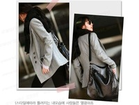 Hot women's single breasted long slim wool suit coat woolen suit women slim medium-long wool woolen coat 2 Colors