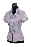 "Light purple New Chinese Women's Satin Polyester V-neck Shirt top Blouses Flower S M L XL XXL XXXL "" MNY-06 """