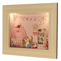 Diy baby photo frame gift male model house handmade diy wood dollhouse