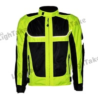 2013 New Arrival Summer Long Sleeve Oxford Cloth Reflective Stripe Motorcycle Jacket Racing Jacket Yellow Green