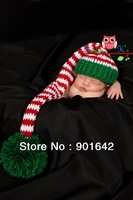Handmade Newborn Girl Boy Christmas Baby Hat PHOTO PROP Long Tail Munchkin Pixie Stocking Cap Green Red White Stripe