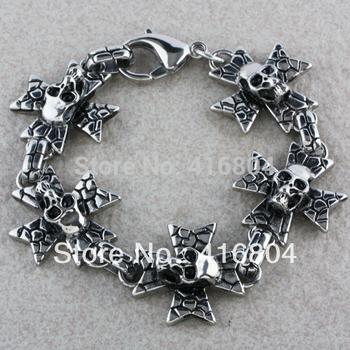 1Pc Men Punk Rock Stainless Steel Cross Skull Skeleton Hinged Cuff Bracelet Bangle