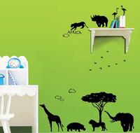 Free Shipping Africa Animal Bird Lion Elephant Leopard Rhinoceros Zoo Wall Stickers Home Kid Room Art Decoration Decals W319