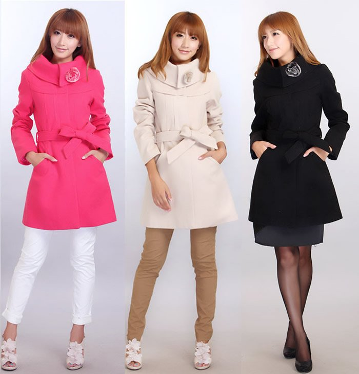 Wholesales Women wool coat winter outerwear Free shipping Woolen Long Jacket(China (Mainland))