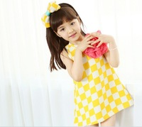 (5pcs/lot)Free Shipping summer girls dresses double color checks baby dress kids plaid dress with flowers and hair bow