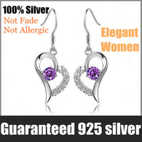 OYAG jewelry! Wholesale Genuine 925 Sterling Silver Sweet LOVE HEART Elegant Women Drop earring.TOP quality.Free shipping.