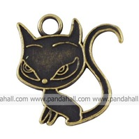 Tibetan Style Pendants,  Lead Free,  Cat,  Antique Bronze,  21x20x1mm,  Hole: 3mm