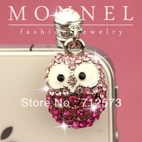 ip161c MONNEL Best Selling Cute Pink Crystal OWL Cell Phone Anti Dust Plug