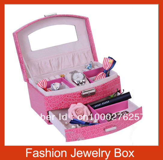 Free Shipping, Copy crocodile skin Fashion jewellery Cosmetic Watch box with mirror,best-selling(China (Mainland))
