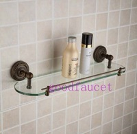 Free Shipping Wholesale / Retail Antique Bronze Wall Mount Bathroom Shower Caddy Cosmetic Glass Shelf Single Tier Storage Holder