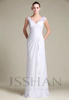 12W074 Straps V-Neck Beaded Appliqued Slim Satin Chiffon Elegant Gorgeous Luxury Unique Bridal Wedding Dress Wedding Gown