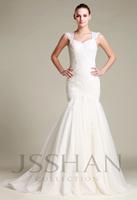 12W073 Off Shoulder Slim Mermaid Tulle Applique Bridal Elegant Gorgeous Luxury Unique Brilliant Wedding Dress Wedding Gown