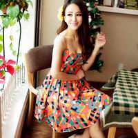 2013 spring plus size beach dress suspender skirt bohemia one-piece dress short skirt female summer