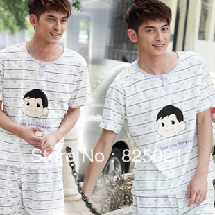 Men sleepwear Summer short-sleeve Summer knitted cotton male men lounge(China (Mainland))
