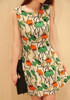 Q190 2013 fresh vintage fashion print back zipper o-neck sleeveless vest one-piece dress