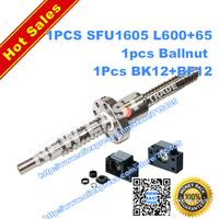 dia16mm Rolled Ballscrew 1pcs SFU1605 L665mm (L600mm+65mm machining parts) +1pcs ballnut + end machining + 1set BK12BF12 Support