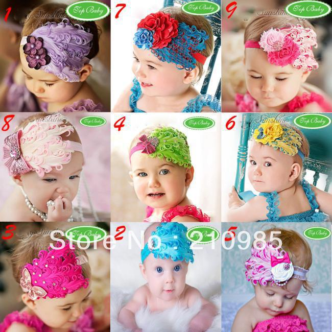 Free Shipping 24pcs/lot baby girl feather headband Baby fashion hair band colorful girl head accessories multi styles(China (Mainland))