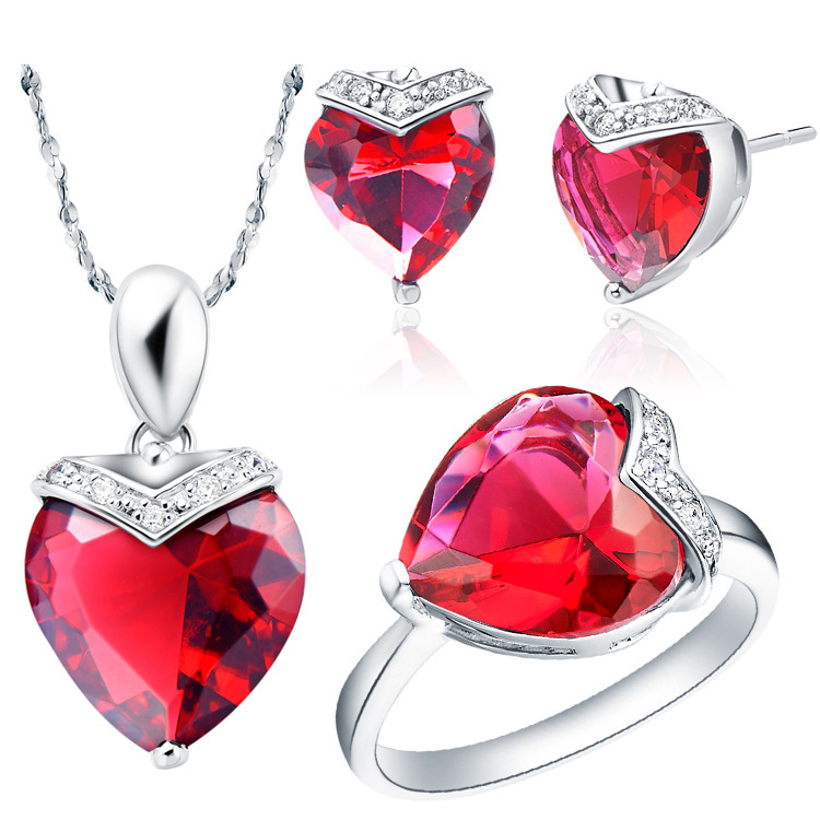 S60046 Ruby jewelry set costume african fashion jewelry sets with rhinestone heart shaped ring size 8 free shipping(China (Mainland))