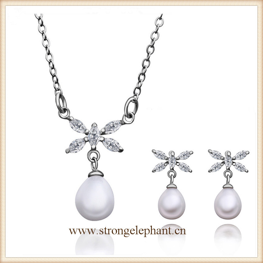 Hot white gold plated latest design pearl set(China (Mainland))