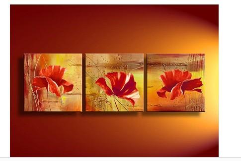 3 peças parede Abstract Art Modern No emoldurado em acrílico flor laranja papoilas pintura a óleo sobre tela retratos na parede(China (Mainland))