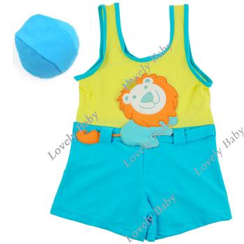Newest Baby boy Swimsuits kids swimwear new design children swimsuit Vest + Swimming Cap Set 1-7Y Years B14193