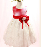 2013 new baby girl summer chiffion plaid bow party dress, princess formal  floral dresses,   #128081, free shipping