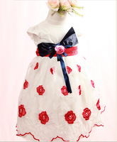 2013 new baby girl summer chiffion print bow party dress, princess formal  floral dresses,   #128220, free shipping