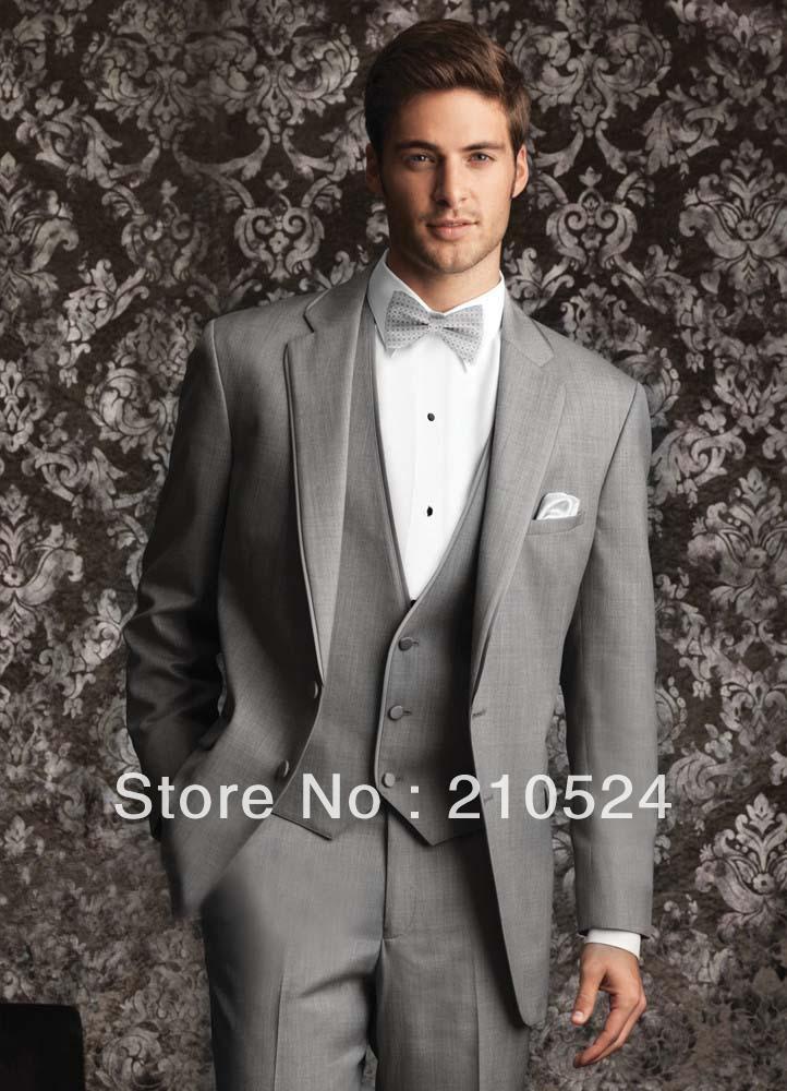 Wear smooth lapel neck jacket pants vest bow tie napkin grey men suits